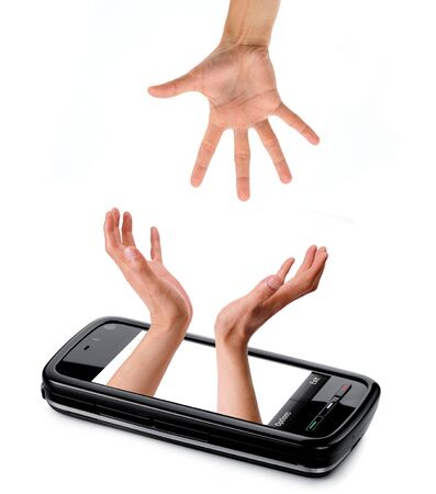 screen and hand  photo
