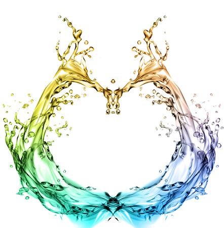 rainbow cocktail: colorful splash of water in a heart shape
