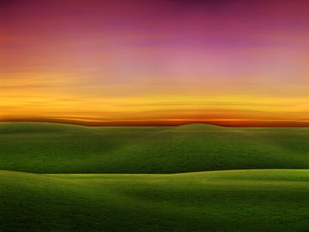 green field and beautiful sunset  photo