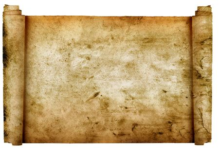 history: Vintage roll of parchment background isolated on white
