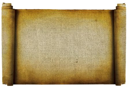 history books: Vintage roll of parchment background isolated on white