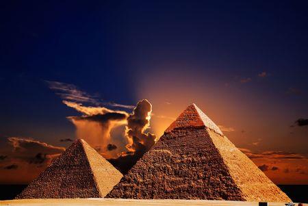 the architecture is ancient: fantasy scene of giza pyramids  Stock Photo