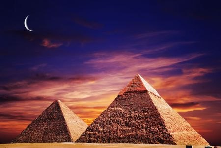 egyptian pyramids: fantasy scene of giza pyramids  Stock Photo