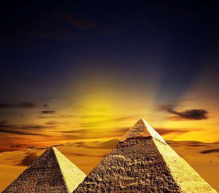 fantasy scene of giza pyramids