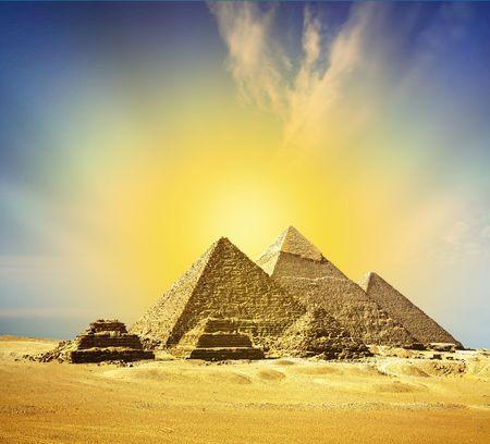 fantasy scene of giza pyramids  photo