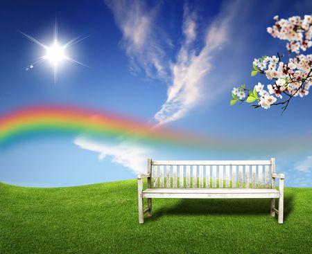 paisajes:  campos de verano paisaje verde y hermoso cielo y una rama de madera hermosa a sentarse en