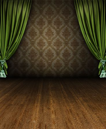 home theatre: grungy vintage interior scene with curtain stage opening Stock Photo