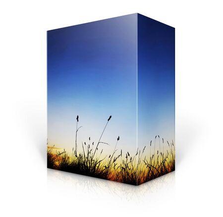 product display:  3d nature Box  Stock Photo
