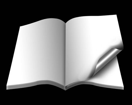 open book with empty pages with a paper photo