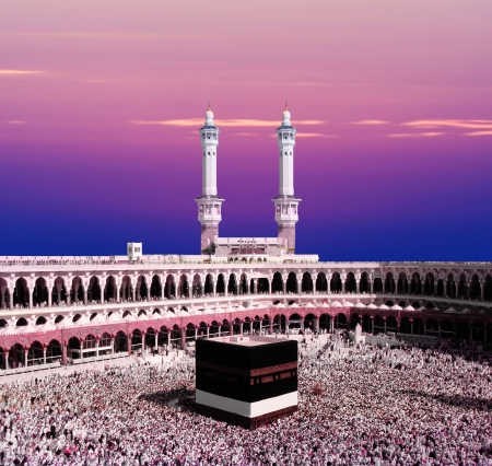 Kaaba Mecca Saudi Arabia during twighlight  Stock Photo