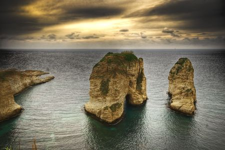 water feature: Pigeon Rocks, Beirut- Lebanon Stock Photo