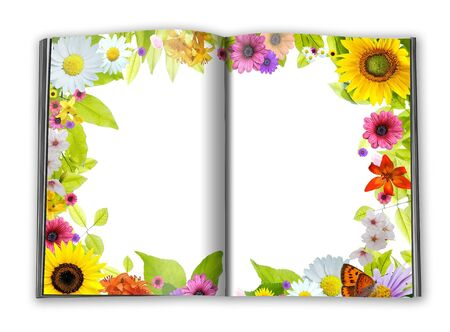 empty book pages framed with flowers and green leaves  Stock Photo - 6279556