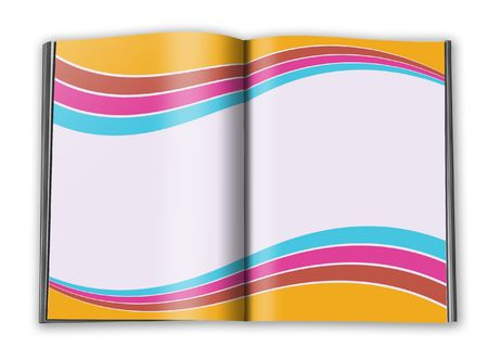 filling folder: open book with empty designed pages with a paper  Stock Photo