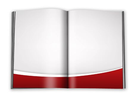 open book with empty designed pages with a paper  photo