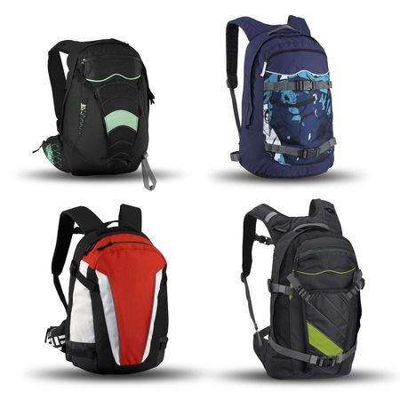 series of Modern and fashionable backpacks on a white background Stock Photo - 7162940