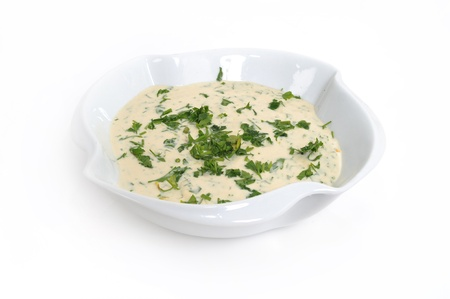 collation: lebanese food , tahina dip popular in the Mediterranean and Arab regions Stock Photo