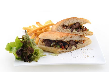Shawarma style beef on a pita, arabian turkis-lebanese food photo