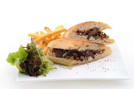 pita: Shawarma style beef on a pita, arabian turkis-lebanese food Stock Photo