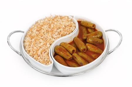 lebanese food of stuffed zucchini with rice photo