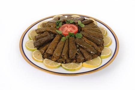 lebanese food: lebanese food of baked rice with nuts and pine (qamhia)