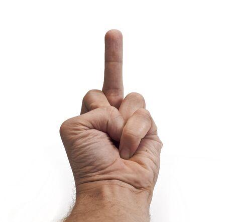 mittelfinger: Hand zeigt eine Mittelfinger, isoliert auf weiss
