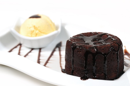 black truffle brownie cake with chocolate sauce Stock Photo - 9686439
