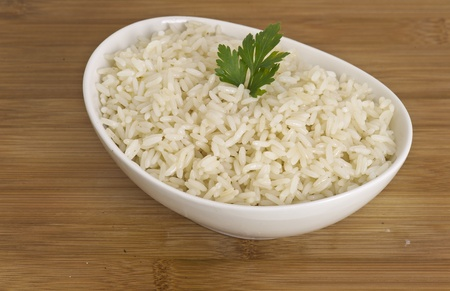 basmati: White steamed rice in white bowl