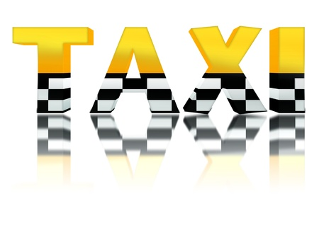 yellow taxi: 3d taxi sign with reflection