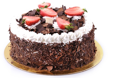 torte: chocolate Cake with strawberries and cream Stock Photo