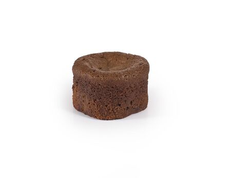 Single chocolate brownie isolated on white background. Stock Photo - 9685885