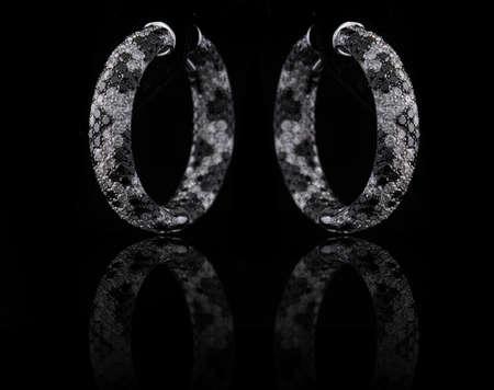 diamond earings with reflection Stock Photo - 9689889
