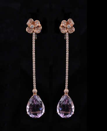 diamond earings with reflection Stock Photo - 9691399