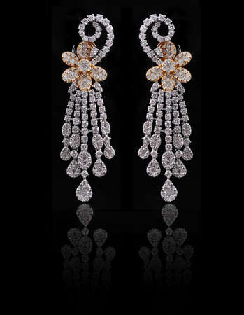 diamond earings with reflection photo