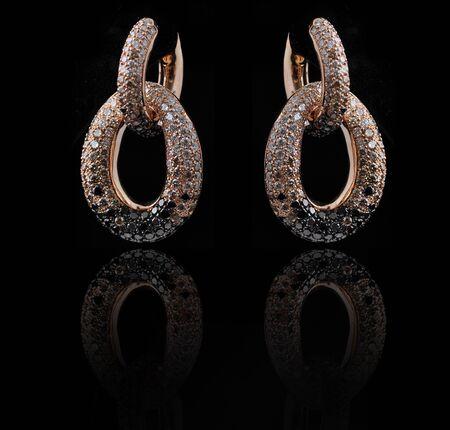 diamond earings with reflection Stock Photo - 9691408