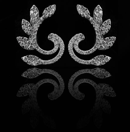 diamond earings with reflection Stock Photo - 9691907