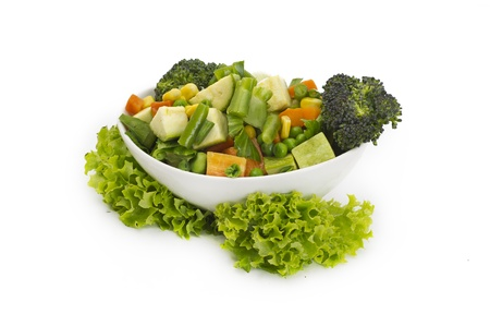 diced vegetables background with carrot, corn and peas. photo