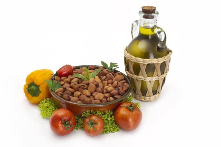 lebanese broad beans in plate served with olive and vegetables