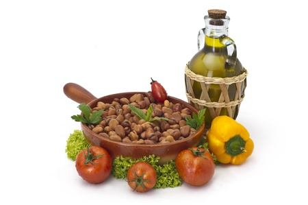 lebanese broad beans  in plate served with olive and vegetables photo