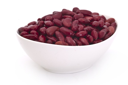 cooked red beans in bowl on white background  photo