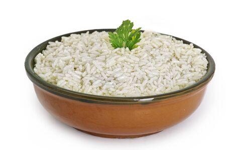 jasmine rice: White steamed rice in round bowl