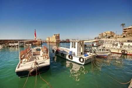 lebanon beach: Small harbor, Byblos, Lebanon Stock Photo