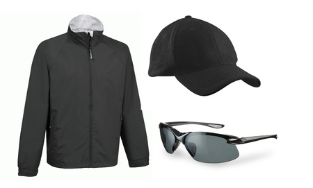 set of cap eyeglasses and a jacket isolated photo