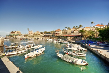 Small harbor, Byblos, Lebanon Stock Photo