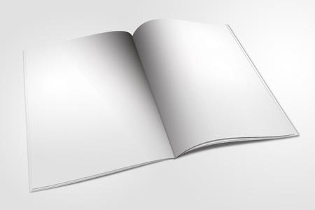 portada de revista: libro abierto aislado en blanco Foto de archivo