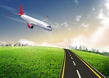 Passenger airplane landing photo