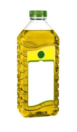 aceite de cocina: aceite de cocina en la botella de plástico aislado en blanco Foto de archivo