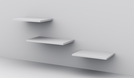 3d render of shelves in a clean interior, blank template for design Stock Photo - 12371270