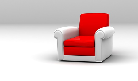 Bright Red leather Armchair  Stock Photo - 12371293