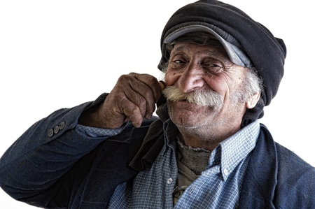 turkish man: old arabian lebanese man with hands on his mustache