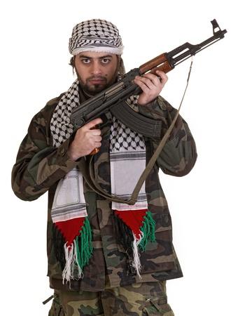 palestinian: soldier from palestine wearing keffieyh